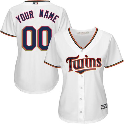 Women's Majestic Minnesota Twins Customized Replica White Home Cool Base MLB Jersey