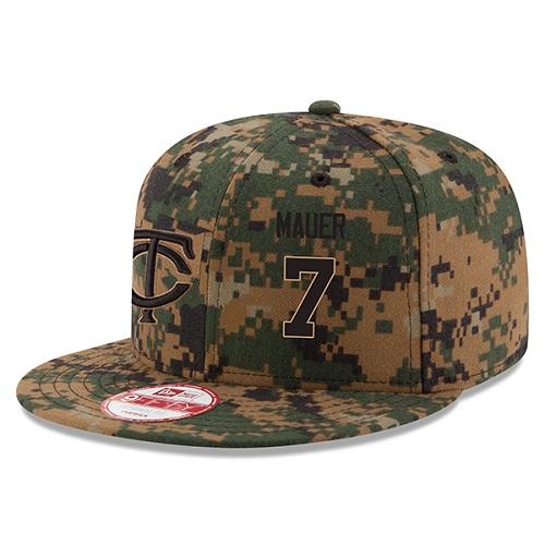 MLB Men's Minnesota Twins #7 Joe Mauer New Era Digital Camo 2016 Memorial Day 9FIFTY Snapback Adjustable Hat