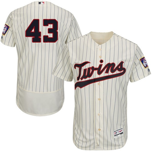 Men's Majestic Minnesota Twins #43 Addison Reed Cream Alternate Flex Base Authentic Collection MLB Jersey