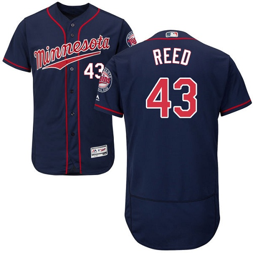 Men's Majestic Minnesota Twins #43 Addison Reed Navy Blue Alternate Flex Base Authentic Collection MLB Jersey