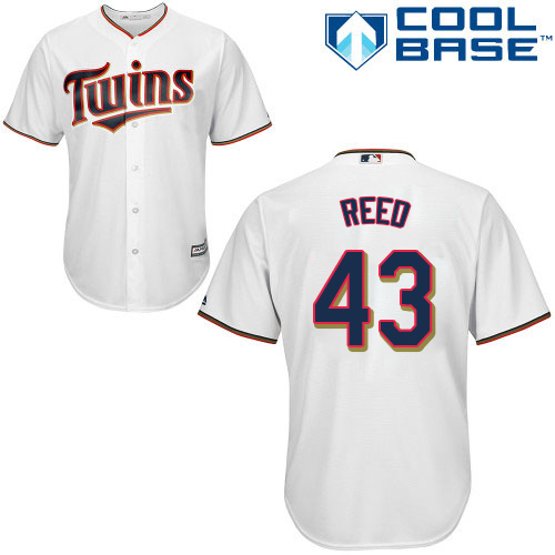 Men's Majestic Minnesota Twins #43 Addison Reed Replica White Home Cool Base MLB Jersey