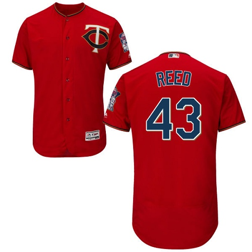 Men's Majestic Minnesota Twins #43 Addison Reed Scarlet Alternate Flex Base Authentic Collection MLB Jersey