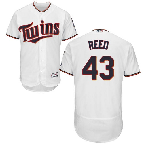Men's Majestic Minnesota Twins #43 Addison Reed White Home Flex Base Authentic Collection MLB Jersey