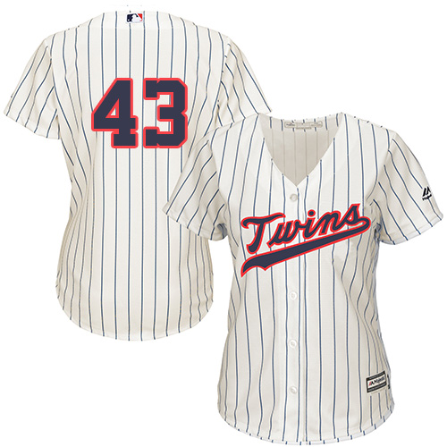 Women's Majestic Minnesota Twins #43 Addison Reed Authentic Cream Alternate Cool Base MLB Jersey
