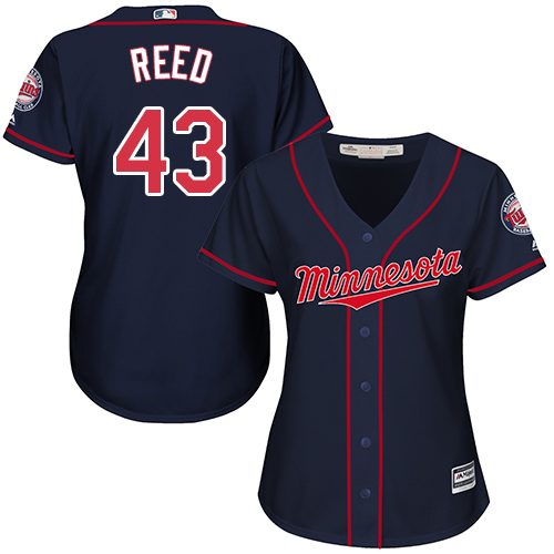 Women's Majestic Minnesota Twins #43 Addison Reed Authentic Navy Blue Alternate Road Cool Base MLB Jersey