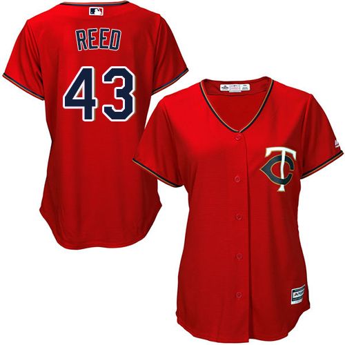Women's Majestic Minnesota Twins #43 Addison Reed Authentic Scarlet Alternate Cool Base MLB Jersey