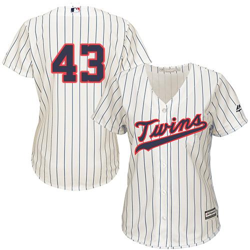 Women's Majestic Minnesota Twins #43 Addison Reed Replica Cream Alternate Cool Base MLB Jersey