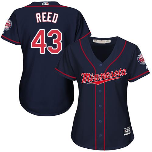 Women's Majestic Minnesota Twins #43 Addison Reed Replica Navy Blue Alternate Road Cool Base MLB Jersey