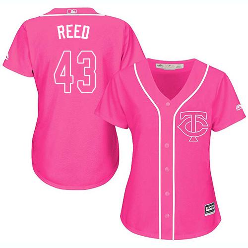 Women's Majestic Minnesota Twins #43 Addison Reed Replica Pink Fashion Cool Base MLB Jersey