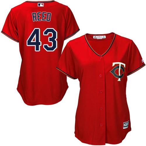 Women's Majestic Minnesota Twins #43 Addison Reed Replica Scarlet Alternate Cool Base MLB Jersey