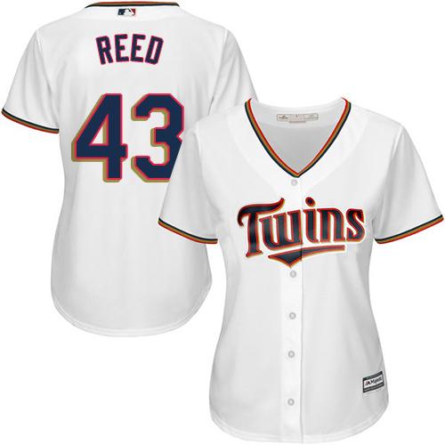 Women's Majestic Minnesota Twins #43 Addison Reed Replica White Home Cool Base MLB Jersey