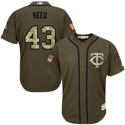 Youth Majestic Minnesota Twins #43 Addison Reed Authentic Green Salute to Service MLB Jersey