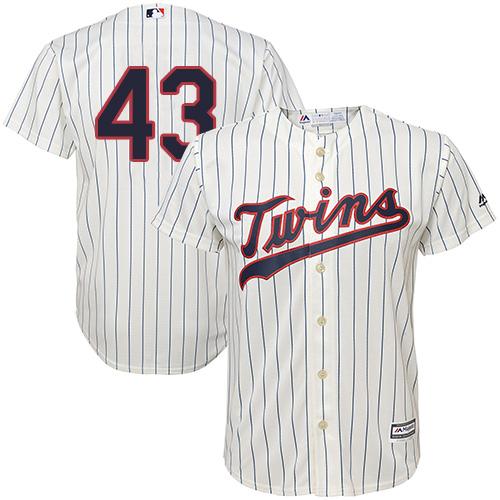 Youth Majestic Minnesota Twins #43 Addison Reed Replica Cream Alternate Cool Base MLB Jersey