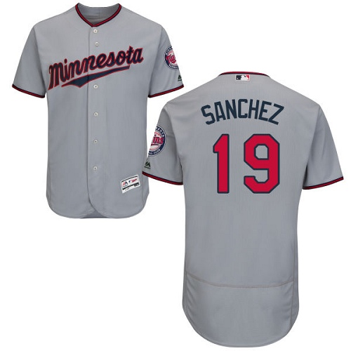 Men's Majestic Minnesota Twins #19 Anibal Sanchez Authentic Grey Road Cool Base MLB Jersey