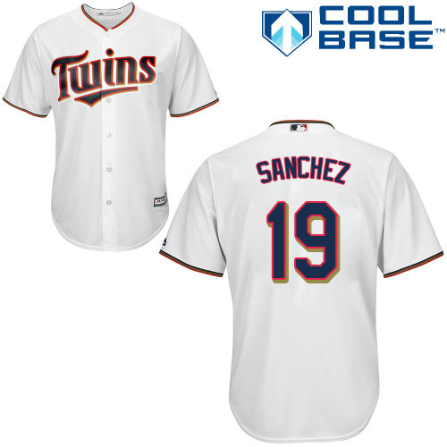 Men's Majestic Minnesota Twins #19 Anibal Sanchez Replica White Home Cool Base MLB Jersey