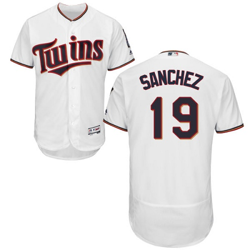 Men's Majestic Minnesota Twins #19 Anibal Sanchez White Home Flex Base Authentic Collection MLB Jersey