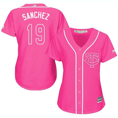 Women's Majestic Minnesota Twins #19 Anibal Sanchez Authentic Pink Fashion Cool Base MLB Jersey