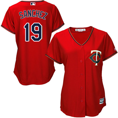 Women's Majestic Minnesota Twins #19 Anibal Sanchez Authentic Scarlet Alternate Cool Base MLB Jersey