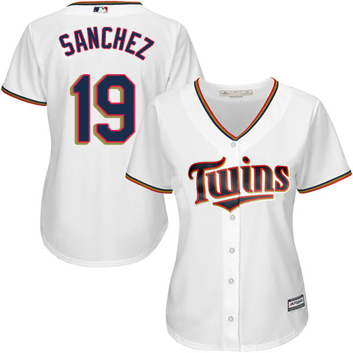 Women's Majestic Minnesota Twins #19 Anibal Sanchez Replica White Home Cool Base MLB Jersey