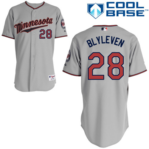 Men's Majestic Minnesota Twins #28 Bert Blyleven Replica Grey Road Cool Base MLB Jersey