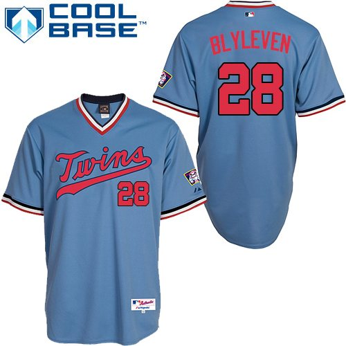 Men's Majestic Minnesota Twins #28 Bert Blyleven Replica Light Blue 1984 Turn Back The Clock MLB Jersey