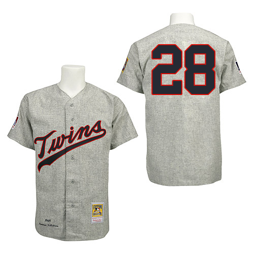 Men's Mitchell and Ness 1969 Minnesota Twins #28 Bert Blyleven Replica Grey Throwback MLB Jersey