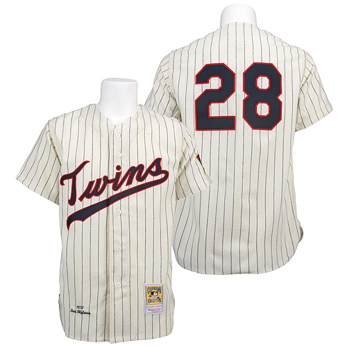 Men's Mitchell and Ness 1970 Minnesota Twins #28 Bert Blyleven Replica Cream Throwback MLB Jersey