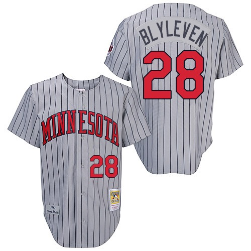Men's Mitchell and Ness 1987 Minnesota Twins #28 Bert Blyleven Replica Grey Throwback MLB Jersey