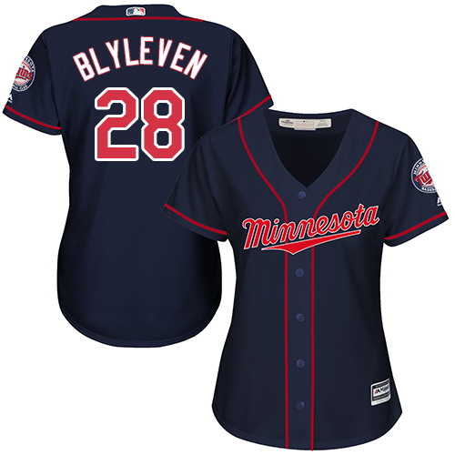 Women's Majestic Minnesota Twins #28 Bert Blyleven Replica Navy Blue Alternate Road Cool Base MLB Jersey