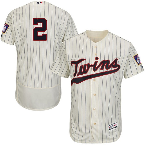 Men's Majestic Minnesota Twins #2 Brian Dozier Authentic Cream Alternate Flex Base Authentic Collection MLB Jersey