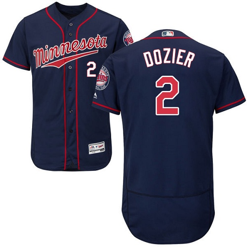 Men's Majestic Minnesota Twins #2 Brian Dozier Authentic Navy Blue Alternate Flex Base Authentic Collection MLB Jersey