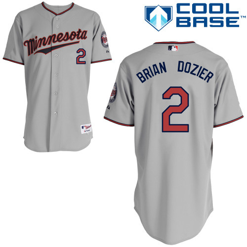 Men's Majestic Minnesota Twins #2 Brian Dozier Replica Grey Road Cool Base MLB Jersey