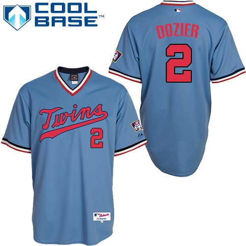 Men's Majestic Minnesota Twins #2 Brian Dozier Replica Light Blue 1984 Turn Back The Clock MLB Jersey