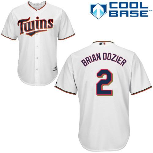 Men's Majestic Minnesota Twins #2 Brian Dozier Replica White Home Cool Base MLB Jersey