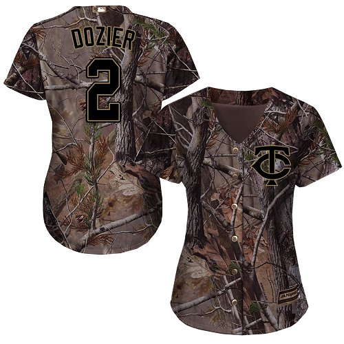 Women's Majestic Minnesota Twins #2 Brian Dozier Authentic Camo Realtree Collection Flex Base MLB Jersey