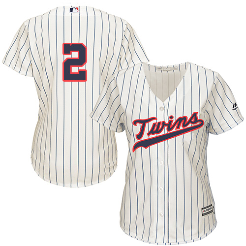 Women's Majestic Minnesota Twins #2 Brian Dozier Authentic Cream Alternate Cool Base MLB Jersey