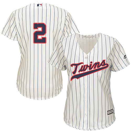 Women's Majestic Minnesota Twins #2 Brian Dozier Replica Cream Alternate Cool Base MLB Jersey