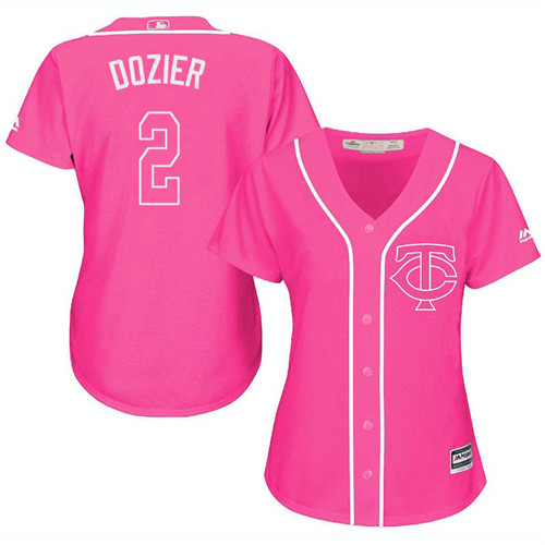Women's Majestic Minnesota Twins #2 Brian Dozier Replica Pink Fashion Cool Base MLB Jersey