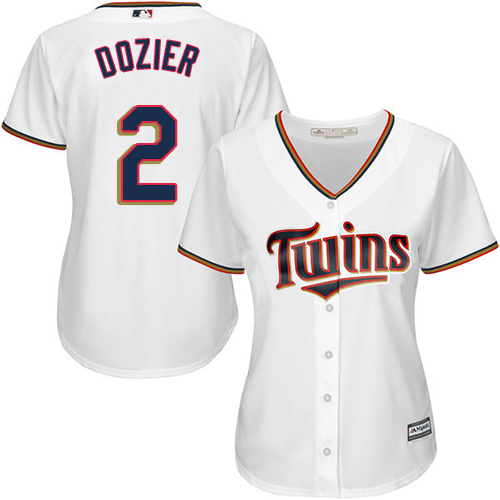 Women's Majestic Minnesota Twins #2 Brian Dozier Replica White Home Cool Base MLB Jersey