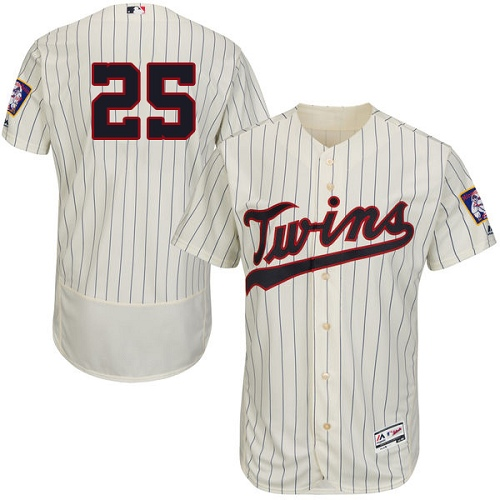 Men's Majestic Minnesota Twins #25 Byron Buxton Authentic Cream Alternate Flex Base Authentic Collection MLB Jersey