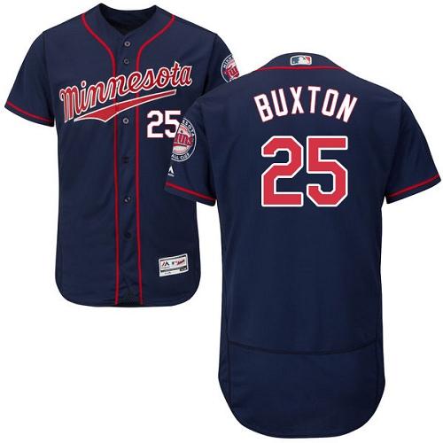 Men's Majestic Minnesota Twins #25 Byron Buxton Authentic Navy Blue Alternate Flex Base Authentic Collection MLB Jersey