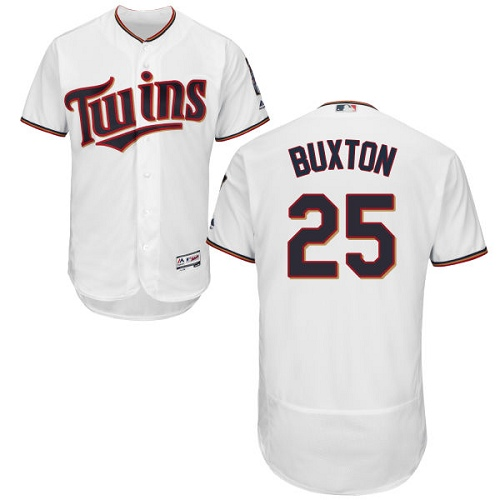 Men's Majestic Minnesota Twins #25 Byron Buxton White Home Flex Base Authentic Collection MLB Jersey