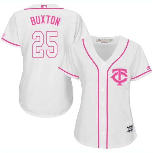 Women's Majestic Minnesota Twins #25 Byron Buxton Authentic White Fashion Cool Base MLB Jersey
