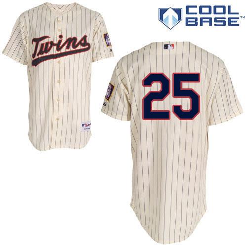 Women's Majestic Minnesota Twins #25 Byron Buxton Replica Cream Alternate Cool Base MLB Jersey