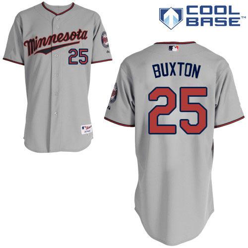 Women's Majestic Minnesota Twins #25 Byron Buxton Replica Grey Road Cool Base MLB Jersey
