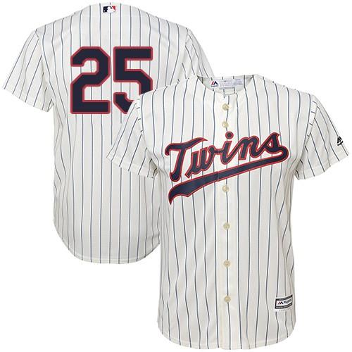 Youth Majestic Minnesota Twins #25 Byron Buxton Replica Cream Alternate Cool Base MLB Jersey