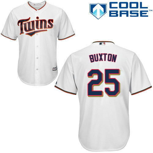 Youth Majestic Minnesota Twins #25 Byron Buxton Replica White Home Cool Base MLB Jersey