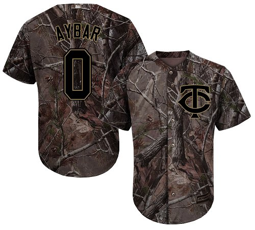 Men's Majestic Minnesota Twins #0 Erick Aybar Authentic Camo Realtree Collection Flex Base MLB Jersey