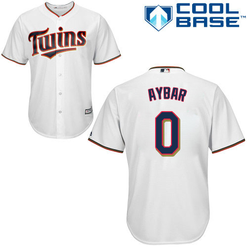 Men's Majestic Minnesota Twins #0 Erick Aybar Replica White Home Cool Base MLB Jersey