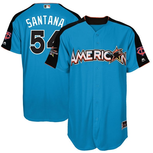 Men's Majestic Minnesota Twins #54 Ervin Santana Authentic Blue American League 2017 MLB All-Star MLB Jersey